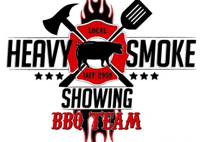Heavy Smoke Showing Martin County Fire Dept. BBQ Team Logo